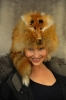 Real red fox hat with head